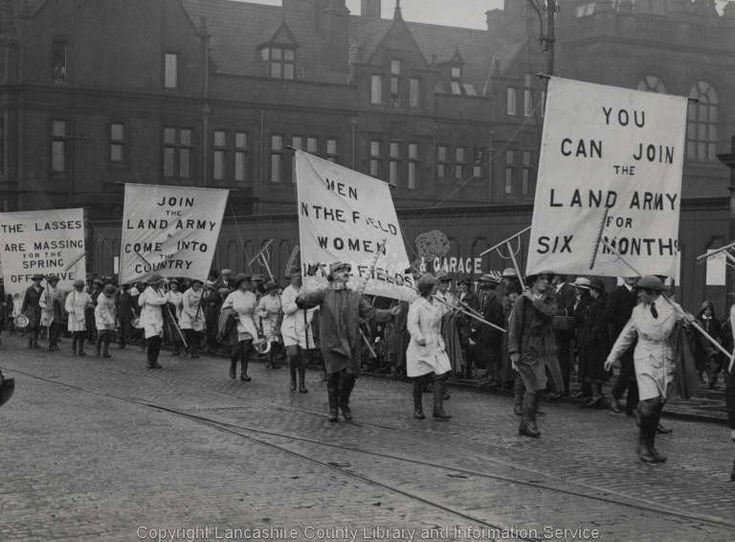 WW1 Photo: Recruitment Rally in Lancashire · WW1 Photos, WW1 Recruitment. Mar 162014. Women's Land Army, Fishergate, Preston