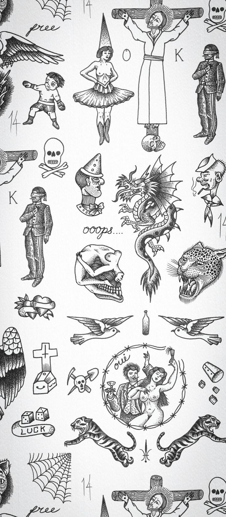 Tattoo Flash Art Black And White Guitar: Tattoo Flash 01 Wallpaper By Liam Sparkes