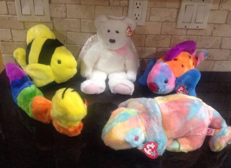 Lot Of 5! TY Beanie Buddies Jumbo Beanie Babies PREOWNED #Ty