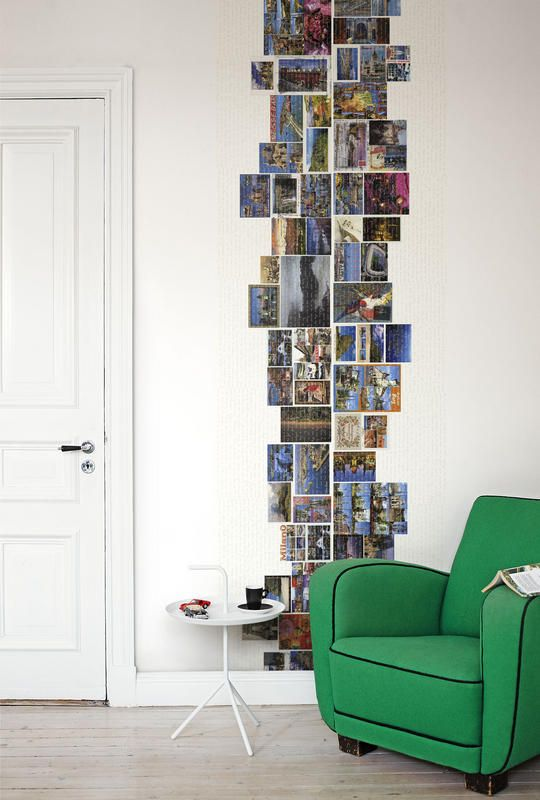 Postcard Collage.  Great idea to document all the places you've visited or put up pictures of all the places you'd like to visit.