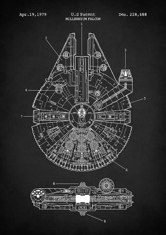 Millenium Falcon Da Vinci Sketch Poster Print Star Wars Blueprint Geek Han Solo