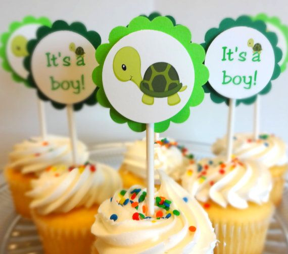 Turtle Baby Shower Cupcake Toppers by SprinklesPaperieCo on Etsy, $10.00