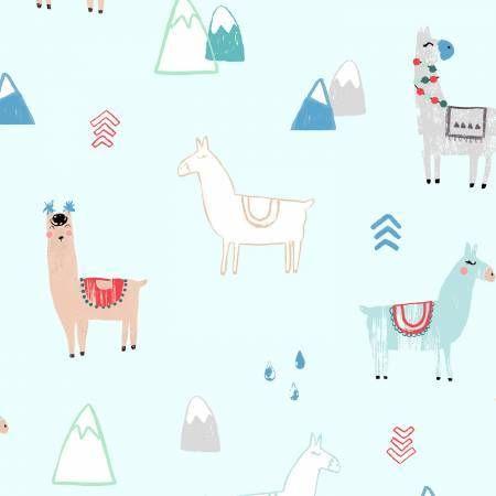 Mist Llama - Dear Stella - 1/2 yard - Funky Monkey Fabrics Inc.