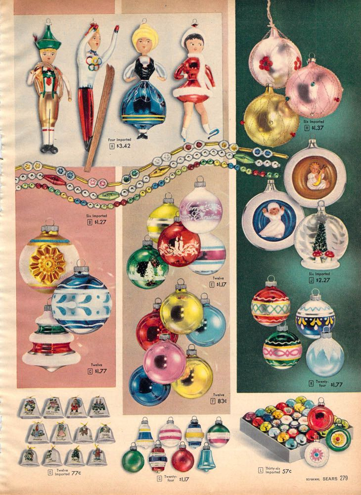 1950's Christmas Ornaments - We had a couple of the ceramic bells (bottom left).