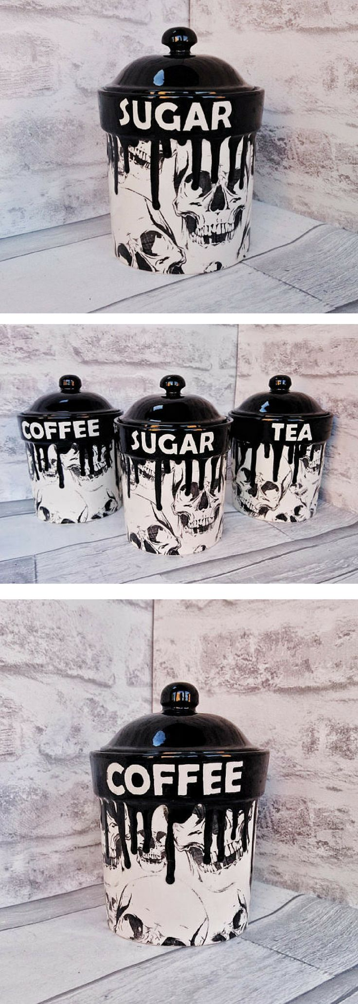 Skull Storage Canisters, Tea Coffee Canister, Sugar Jars, Storage Pots, Ceramic Pot, Container, Kitchen flour Pot, Hand Painted, Gothic Goth #ad