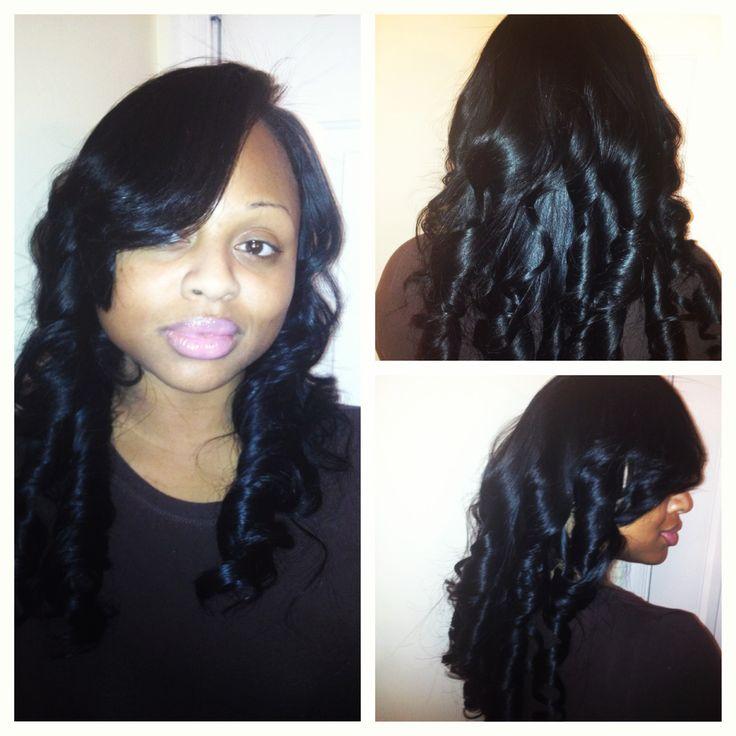 in deep side part barrel curls www.styleseat.com\/luxelengths Sew Ins ...
