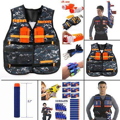 Adjustable Tactical Vest with Storage Pockets Toy for Nerf N-Strike Elite Team