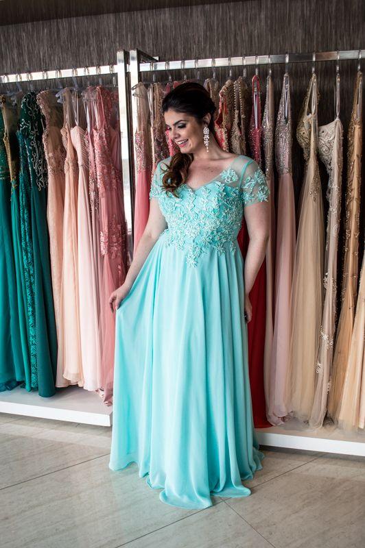 Vestido Longo Azul Tiffany - Saia Justa Moda Festa - Vestidos e Acessórios - Curitiba