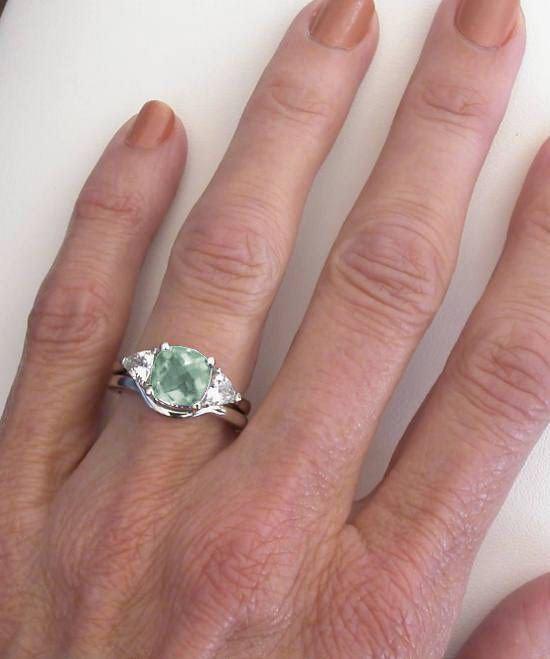 Diamond Alternative Green Amethyst Engagement Rings Jewelry Pinterest Wedding Bands And Ring