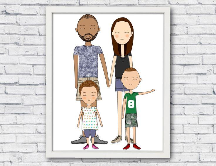 Aangepaste portret, aangepaste familieportret, familie illustratie, familie cadeau, familie opstellen, familie kunst, aangepaste huisdier portret, huisdier illustratie door catbrush op Etsy https://www.etsy.com/nl/listing/468239200/aangepaste-portret-aangepaste