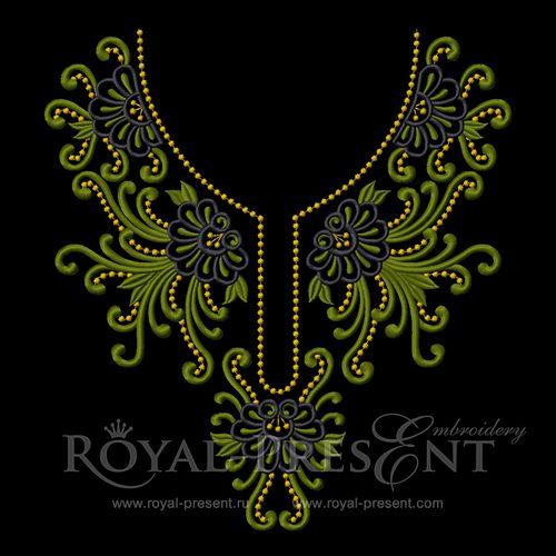 Machine Embroidery Design - Neckline #7, $3.55