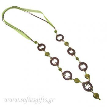 Handmade long necklace with green stones and wooden rings - Sofia - handmade jewlery & accessories