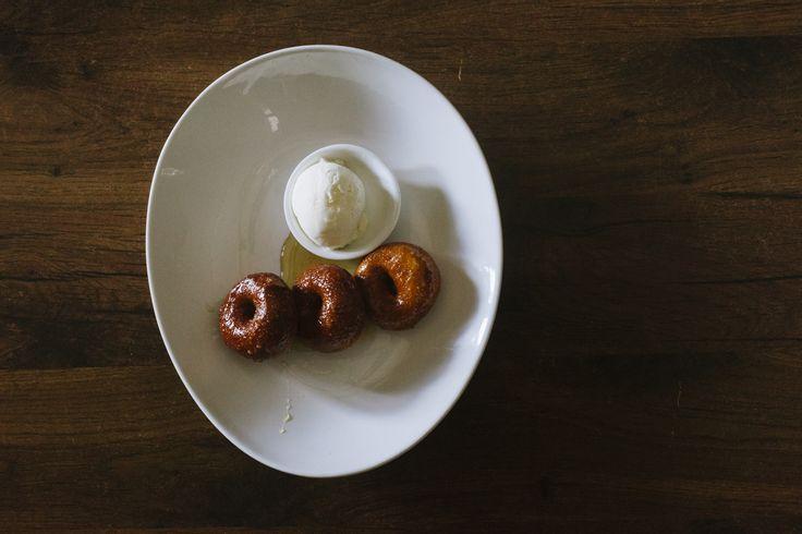 House made doughnuts, tonka bean & palm sugar glaze, with vanilla bean ice-cream