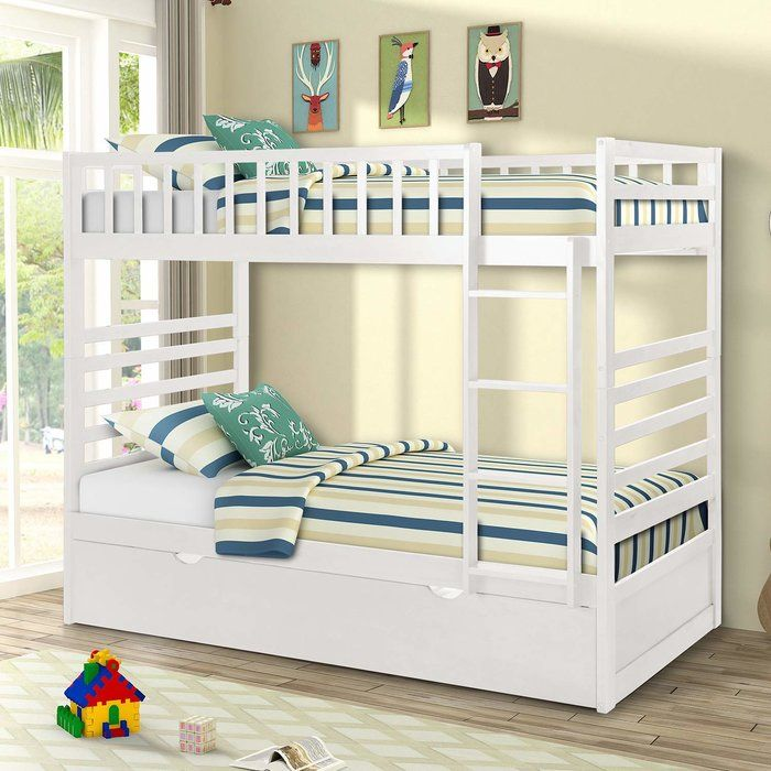 Romeo Twin Over Twin Bunk Bed With Trundle Wood Bunk Beds Twin