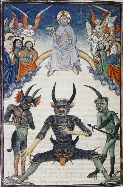 Lucifer (composite devil with many heads) being judged by Christ in majesty, while the saints intercede for him. Livre de la Vigne nostre Seigneur. France, c. 1450-1470. Bodleian Library, MS. Douce 134, f. 67v
