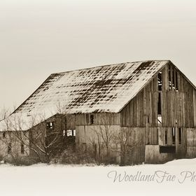 Winter Barn Black and White by WoodlandFae Photography