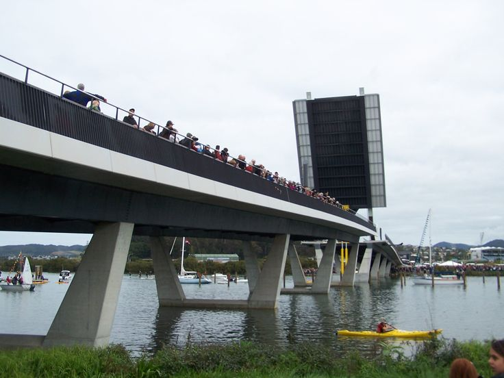 """Whangarei's new Bridge over Hatea River """"Te Matau a Pohe"""" opening day 27.7.2013 the photo Jackie Stoddard, please credit photographer if you use this image"""