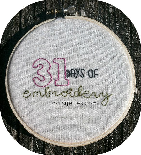 31days of Embroidery - video tutorials for a stitch a day.