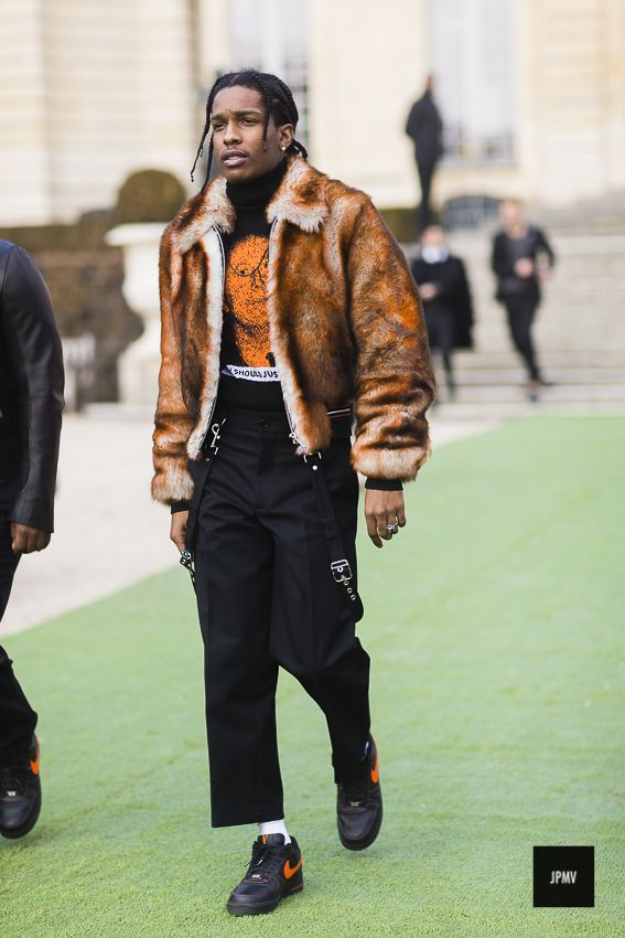 American rapper A$ap Rocky wearing Dior coat and pants during Paris Fashion Week Haute Couture Spring Summer 2017