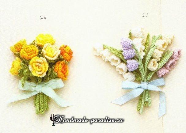 Миниатюрные букетики цветов крючком. Схемы (2)
