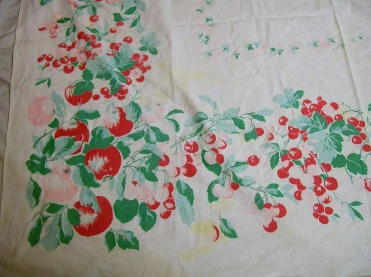 Vintage Tablecloth, Tablecloth With Red And Pink Cherries, Red Pink Cherry  Blossoms, Large