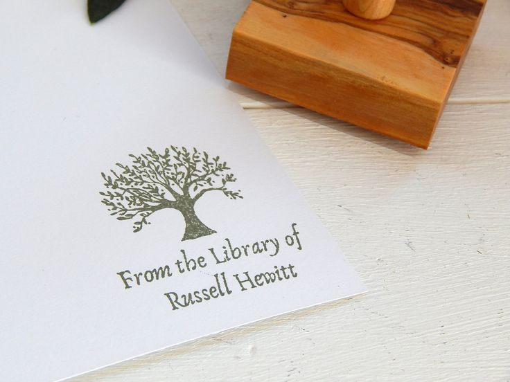 Custom Olive Tree Design Bookplate Olive Wood Stamp by ahueofduckeggblue on Etsy