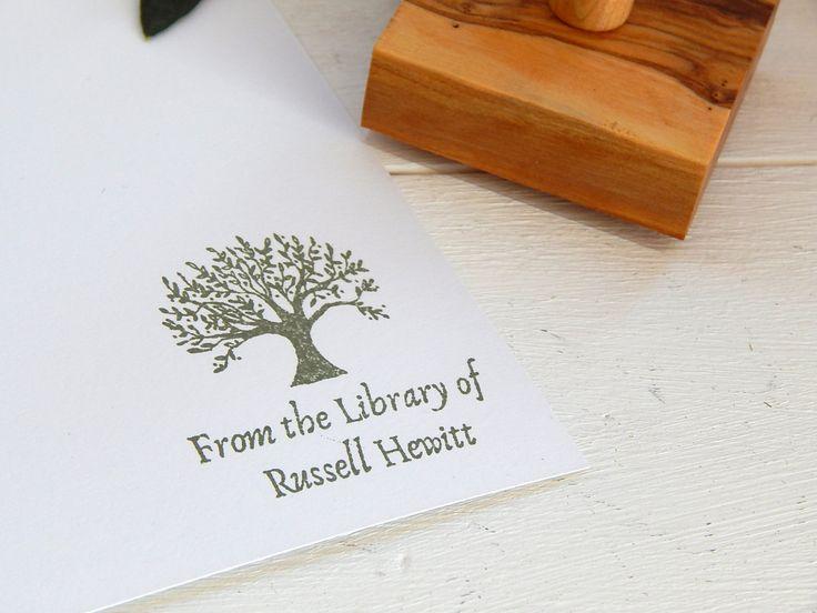 Custom Olive Tree Design Bookplate Olive Wood Stamp by ahueofduckeggblue on Etsy