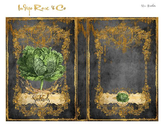 SALADS - RECIPE BOOK COVER - JOURNAL - STATIONERY - CHARCOAL & GOLD FOIL. CHALKBOARD - CHARCOAL - GREEN & RED CABBAGES / LETTUCE. Digital download - Beautiful design. Elegant Gold filigree framing. GREAT GIFT. 3X BOOK COVERS IN 2 FORMS each : A. BOOK form B. Separate Cover FRONT and BACK for a folder or ring binder. ⭐️ PART OF THIS RANGE ADD ONS : - 📌See :- RECIPE PAGE SEPARATORS / HEADERS 📌See :-RECIPE PAGES / CARDS 📌see :-MENU CARDS 📍 CHECK OUT OUR $1 BIN ✂️ ❗️...