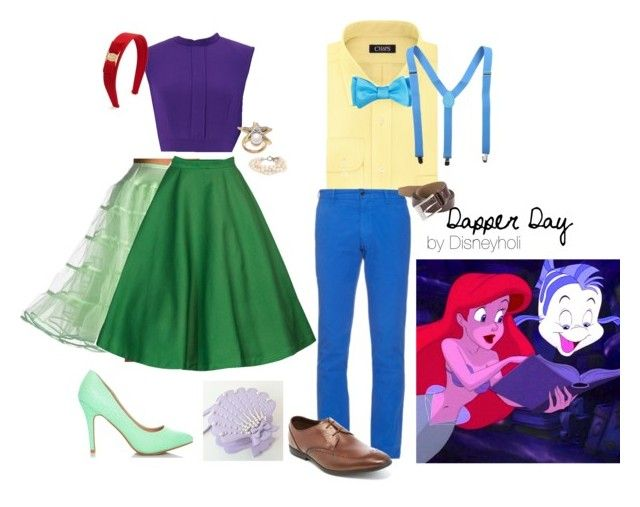 """Ariel and Flounder on Dapper Day"" by disneyholi ❤ liked on Polyvore featuring Chaps, Polo Ralph Lauren, Ted Baker, Clarks, HUGO, Oscar de la Renta, Salvatore Ferragamo and J.Crew"