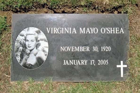The final resting place of Virginia Mayo at Valley Oaks Memorial Park in Westlake Village, CA. She is buried here with husband Michael O'Shea, and located in the same cemetery as Karen Carpenter.