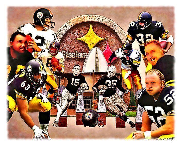 """""""Pittsburgh Steelers Offensive Hall of Fame Legends"""" - The players from left to right include; Terry Bradshaw, John Henry Johnson, Lynn Swann, Dermontti Dawson, Johnny """"Blood"""" McNally, Bill Dudley, Franco Harris, John Stallworth, Bobby Layne & Mike Webster."""