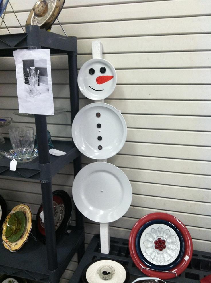 Yard Art Repurposed Plates Snowman Repurposed Glass