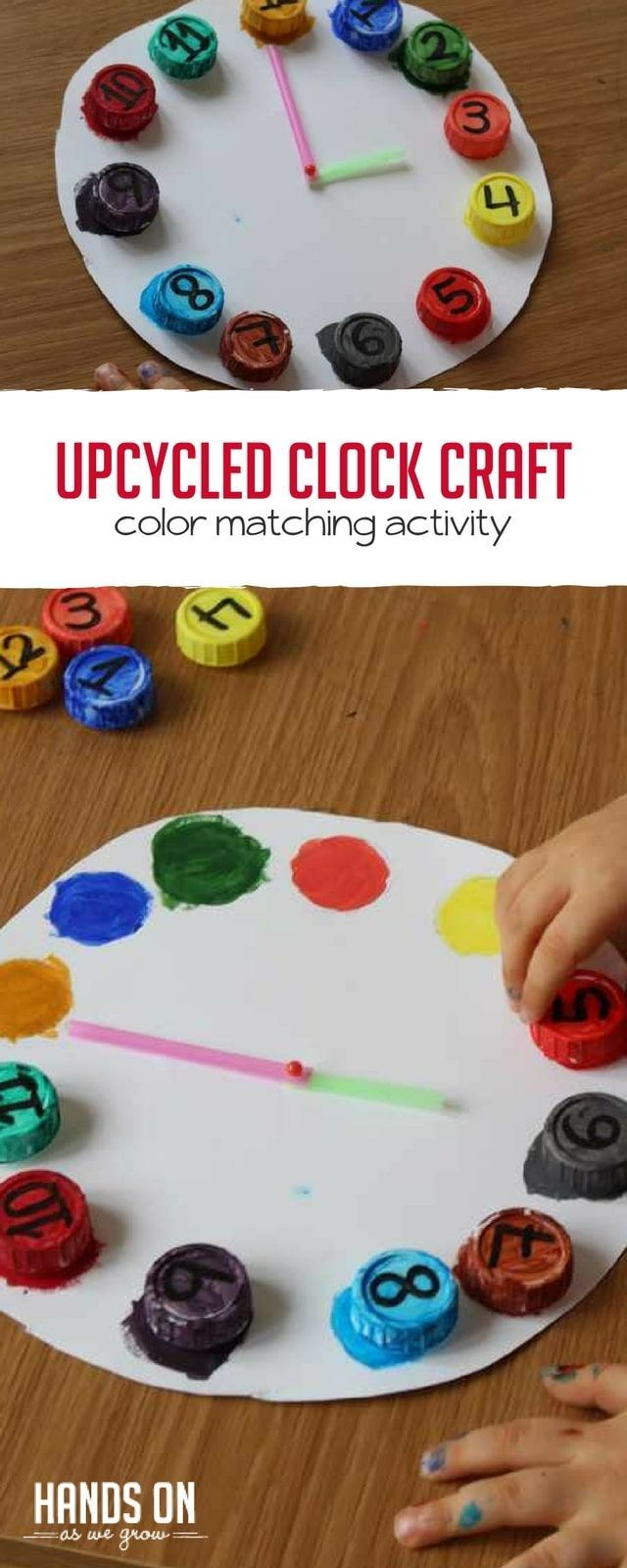Love turning recyclables into playtime? This upcycled clock is a cute way to reuse bottle caps and help your preschooler learn to read time! via @handsonaswegrow