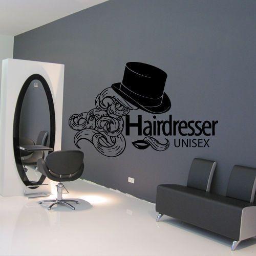 Wall decal hair salon beauty unisex lips hat curls stylist for Stickers design salon
