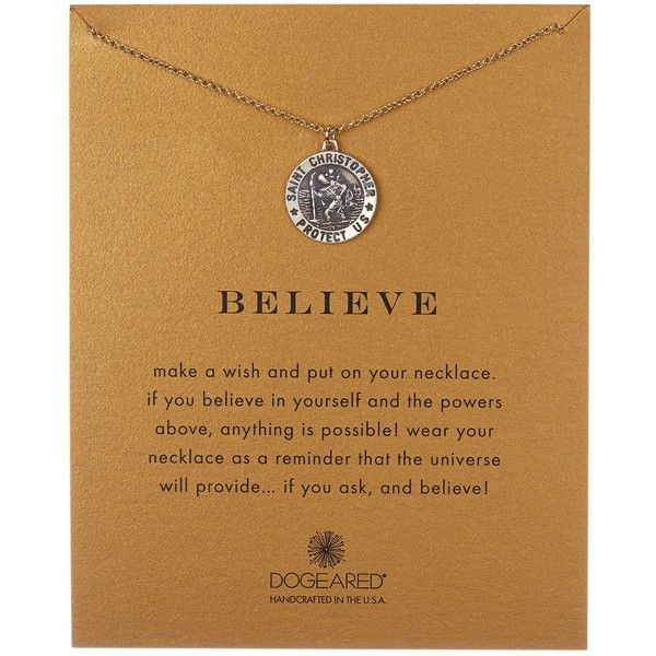 Dogeared Believe Two-Tone St. Christopher Necklace ($47) ❤ liked on Polyvore featuring jewelry, necklaces, no color, chain pendants, two tone jewelry, pendants & necklaces, pendant jewelry en two tone necklace