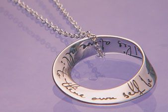 Möbius Strip Hamlet Pendant  'This above all: to thine own self be true'