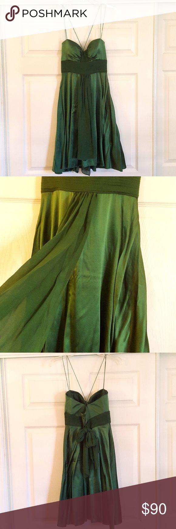 """Aidan Mattox Niteline Emerald Green Silk Dress Sweetheart Neckline Silk blend Size 4 zipper up the back lightly padded in chest  Bust 16"""" Waist 13""""  Length 39"""" Aidan Mattox Dresses"""