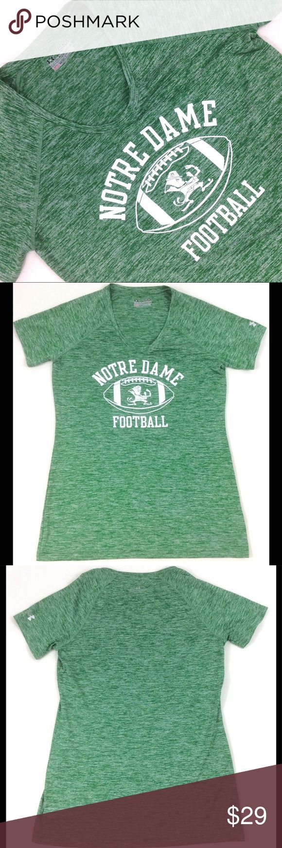"""Fighting Irish Notre Dame Football Heat Gear Norte Dame Football Under Armour. Fighting Irish.  Heat Gear. Vneck  Fantastic perfect condition never worn.  Labeled a size Small semi-fitted, exact measurements: Bust: 33"""" Full Length: 25"""" Front Length from cleavage: 19""""  id: uhln6 Under Armour Tops Tees - Short Sleeve"""