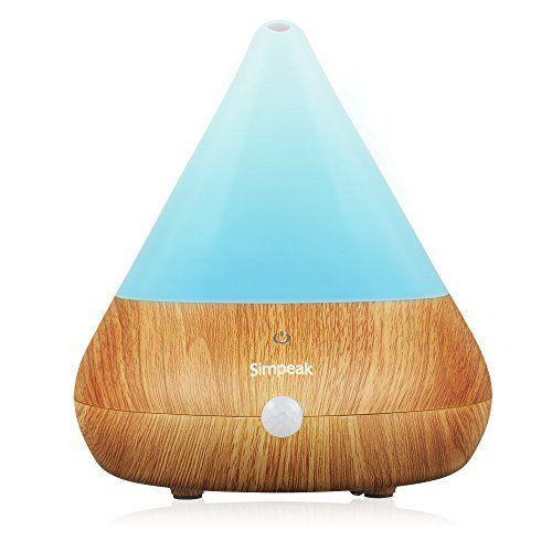 Simpeak Aroma Diffuseur Humidificateur avec capteur infrarouge, Veine du bois Essential Diffuseur Huile pour Gym, Chambre, Bureau, Salon,…