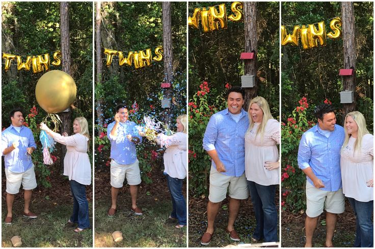 Gender Reveal balloons/ twins / boys / confetti