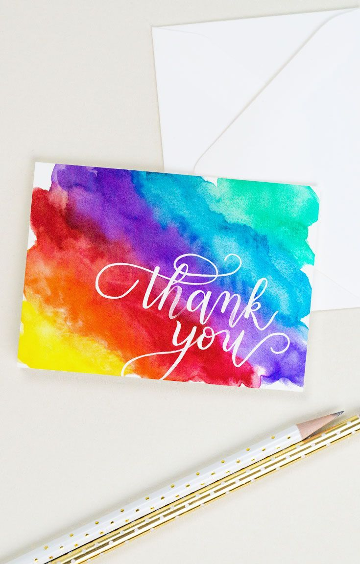 Rainbow Thank You Card Set Of 8 Thank You Card Design Thank