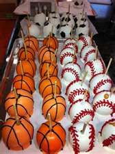 Sports Themed Candy Apples - I need to make them in VOLLEYBALLS :)