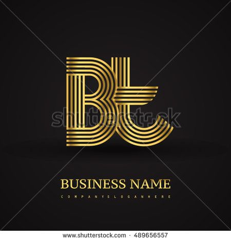 Elegant Initial logo BT letter gold colored. Vector design template elements for company identity.