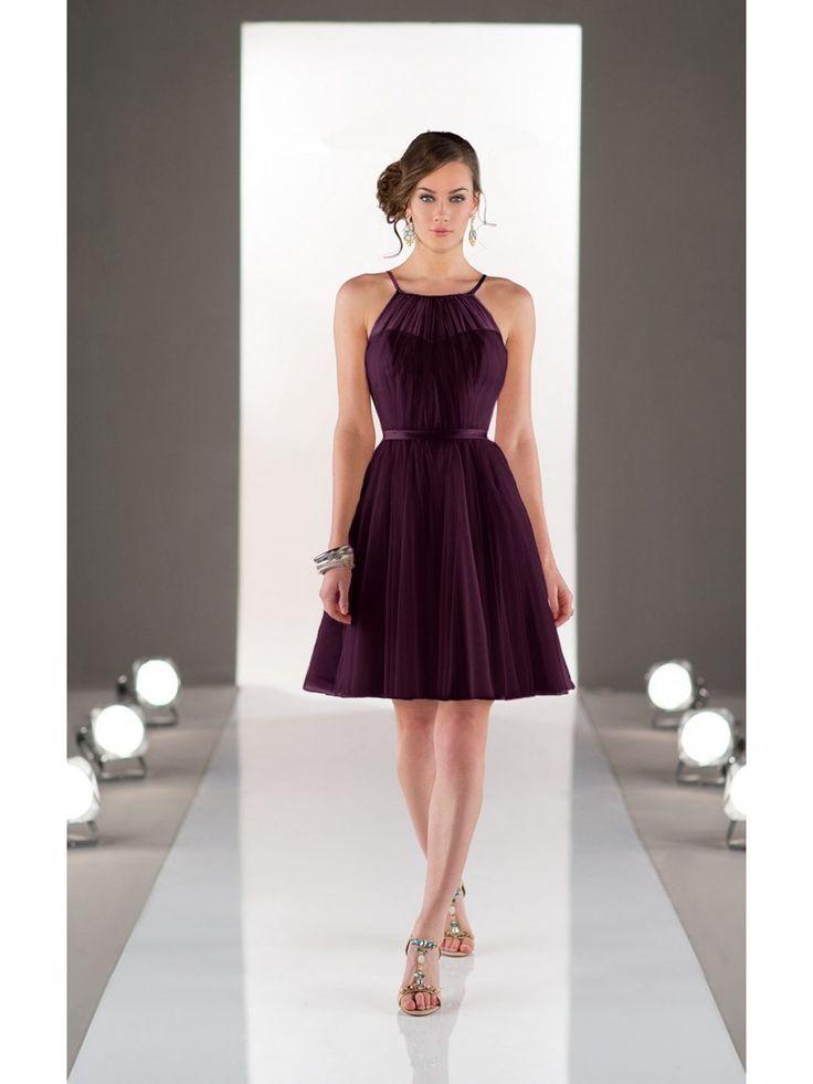 A-Line Long Tulle Short Purple Wedding Party Bridesmaid Dresses 3302078