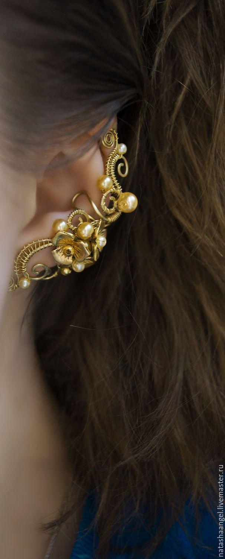 """Earring cuff   Купить Кафф """"Золотые цветы"""" (желтые серьги с цветами, жемчуг желтый цвет) - кафф"""