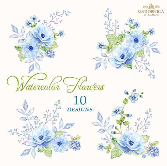 Blue Watercolor Flowers Clipart Blue Flowers Clipart Bouquets