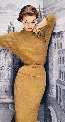 Jean Patchett in Yellow with Dolman sleeves and skinny knit skirt. Classy and still sexy. Beats yoga pants 24/7!