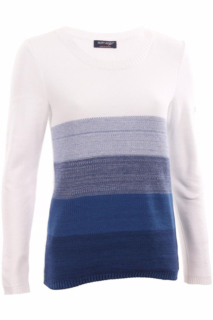 Blue toned multicolor sweater.   Dordogne Sweater by Saint James. Clothing - Sweaters - Crew & Scoop Neck Guilford, Connecticut