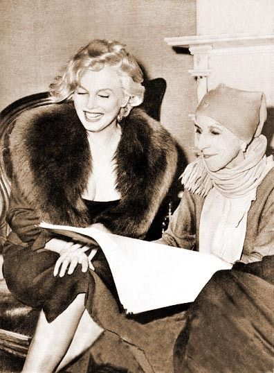 """I love the fashion contrast between these two famous women: Marilyn Monroe with Isak Dinesen (Karen Blixen~author of """"Out of Africa"""")"""