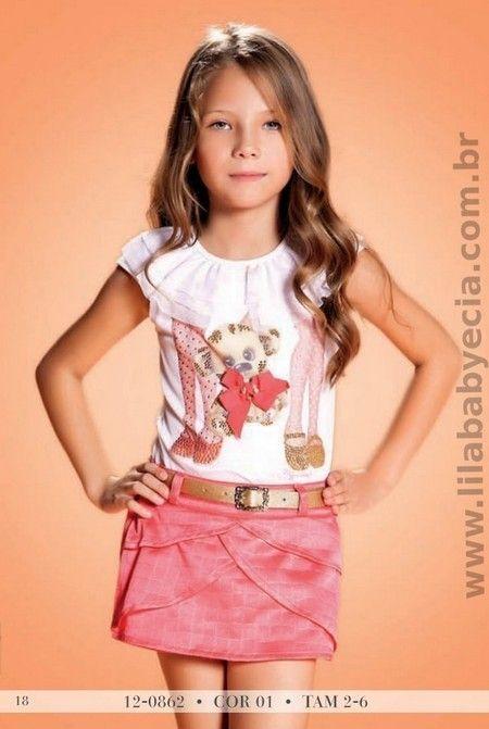BLUSA Infantil C/SHORTS BRANCO Diforini Moda Infanto Juvenil